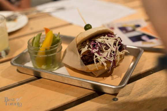 """""""Hey Shorty"""": braised beef, napa cabbage on English muffin"""