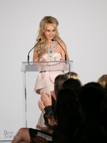 Suzanne Rogers about to announce the winner of TFI New Labels