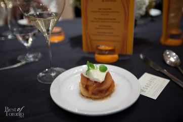 Caramelized mini pear tatin, granny smith sorbet paired with Veuve Clicquot Demi-Sec