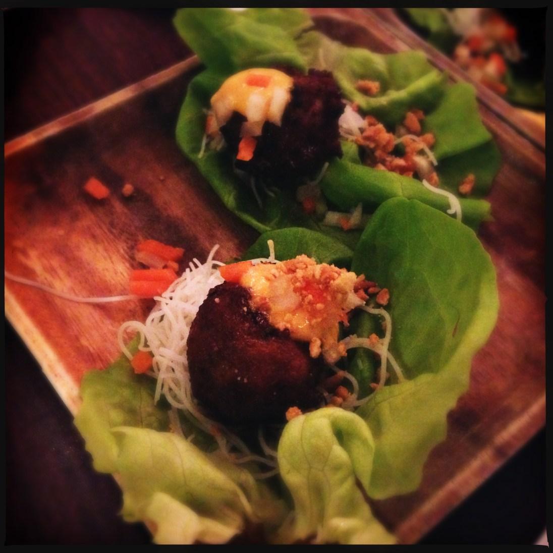 Nem Nuong - Lemongrass pork balls in lettuce wraps