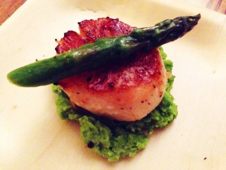 Seared Scallops - with steamed asparagus and organic spring pea puree