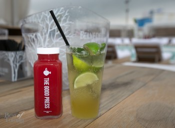 """Cold-pressed watermelon juice by The Good Press and a """"TOjito"""" (a mojito with maple syrup)"""