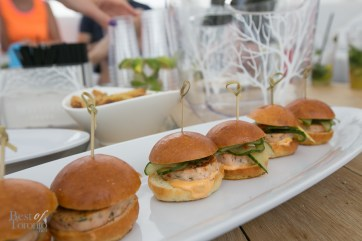 Lobster sliders with pickled cucumber and chili mayo