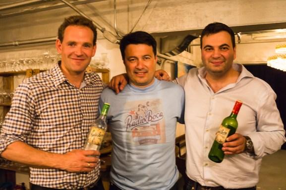 RL: Radio Boka's Daniel Giménez Alba and Nicholas Hammenken; Andrew von Teichman (wine producer/importer)