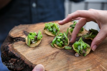 Spring Vegetable Tostada with Goat Cheese