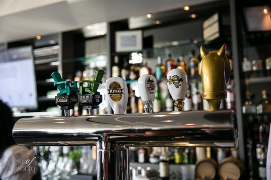 The draught beer on tap