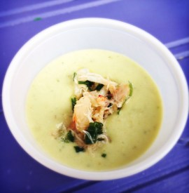 Hawthorne's Ajo Blanco with Gazpacho Soup & Seafood Salad Garnish