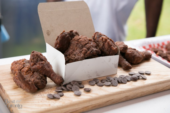 """Cocoa deep fried chicken - not choclate sweet as you may think. I believe it is served with """"chocolate ketchup"""" dipping sauce"""