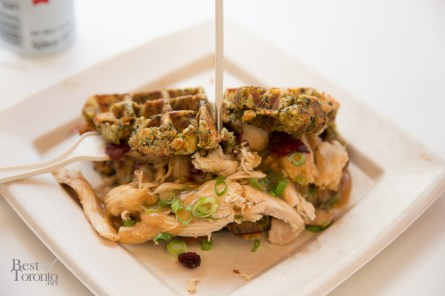 Thanksgiving waffle with turkey, cranberry sauce, and a waffle made out of stuffing. Drizzled with gravy. My pick for must-try at this year's CNE