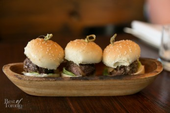 Picanha Sliders - Cachaça Caramelized Onions, Catupiry Cheese, Malagueta Pepper Aioli, served with Cassava Frites - $12
