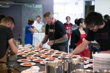 Chef Derek Dammann preparing Raw Sockeye Salmon & Tomato Vinaigrette