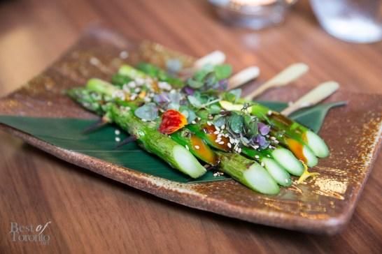 Asparagus skewers with sesame teriyaki