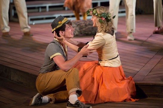 Alexander Plouffe (Orlando) and Amy Rutherford (Rosalind) in As You Like It | Photo: David Hou