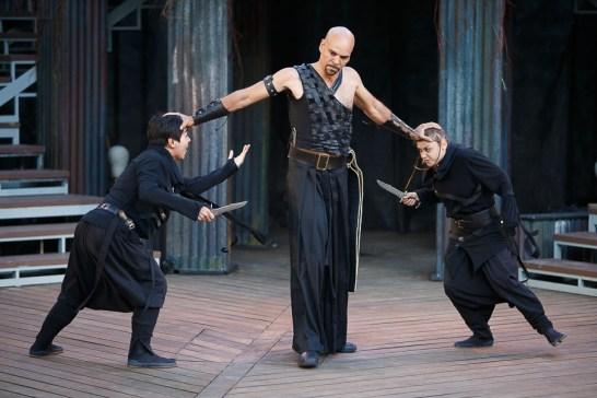 Michael Man (Demetrius), Gwenlyn Cumyn (Chiron) and Beau Dixon (Aaron) in Titus Andronicus | Photo: David Hou