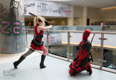 Harley Quinn and Deadpool playing T-ball