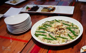 """Wild Mushroom Quinoa Risotto"" with roasted cauliflower, parmigiano reggiano emulsion and tempeh crouton"