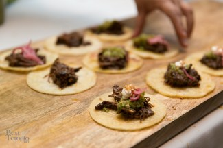 Mole braised beef cheek tostada | Photo: Nick Lee