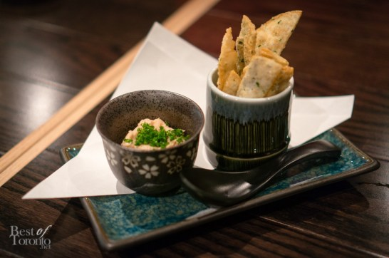 Albacore tuna paté with deep black sesame wonton skins | Photo: John Tan