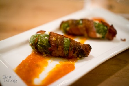 Smoked Bacon Wrapped Jalapeños Stuffed with Aged Cheddar and Tomato Dip | Photo: John Tan