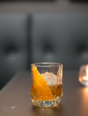 Autumn Leaves cocktail - Bulleit Rye, Calvados Apple Brandy, Dolin Sweet Vermouth, Strega, Angosturra
