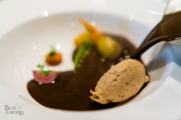 Spiced Chocolate Soup, Foie Gras, and Baby Vegetables