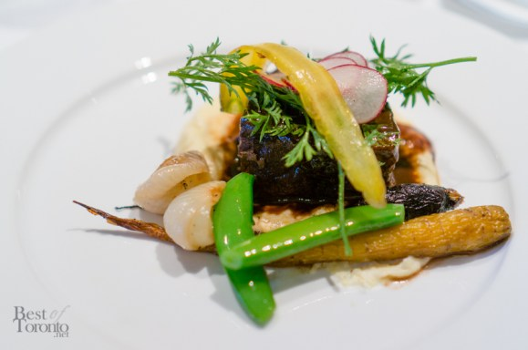 Cocoa Braised Shortribs, Polenta, and Baby Vegetables