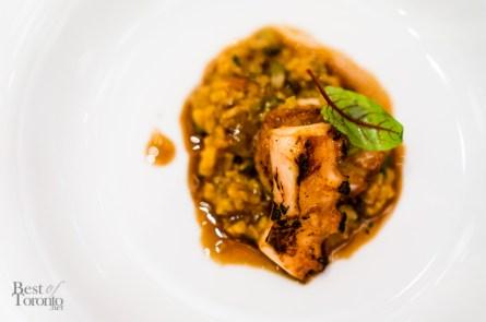 Roasted scallop jambalaya with foie gras, octopus, brown rice, andouille sausage   Photo: John Tan