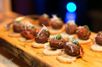 Chorizo Meatball with Arugula, Pesto, Manchego Cheese by Dave Kemp (SALT)