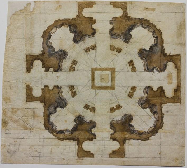 Michelangelo: Plan for the Church of San Giovanni dei Fiorentini in Rome