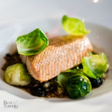 Pink Salmon - smoked spelt, brussels sprouts, mushroom broth