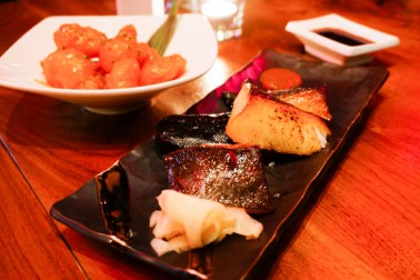 Spicy Rock Shrimp and Roasted Miso-marinated Black Cod