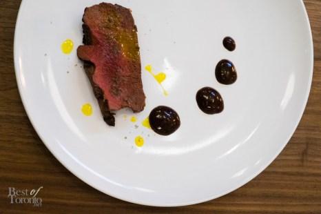 Ontario Red Deer Steak, saskatoon berry jus
