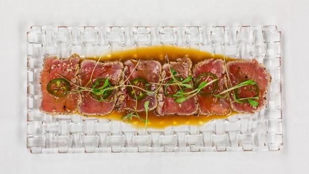 Yellowfin tuna sashimi yuzu dressing, coriander and jalapeno | Photo: Brilynn Ferguson