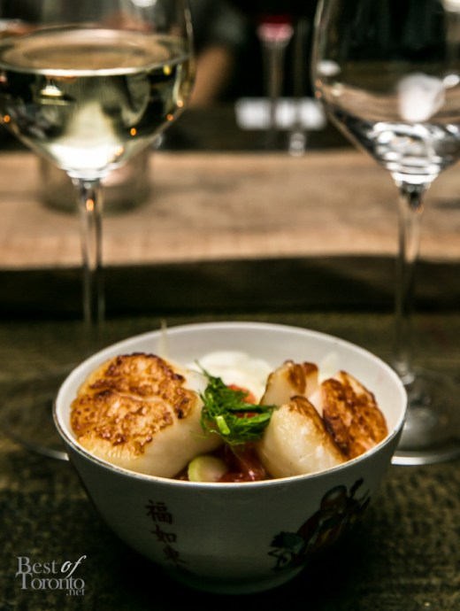 Open Riesling-Gewürztraminer paired with Seared Scallop and Fennel Salad