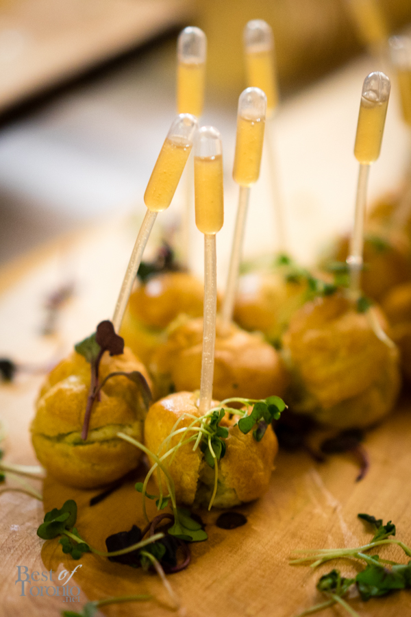 Great Lakes whitefish profiterole with Niagara peach tea syrup | Palais Royale