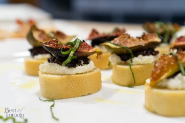 Roasted fig, wine-infused caramelized onions, ricotta cheese on crostini