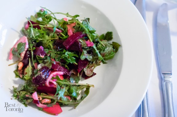 Beet, fennel, and apple salad with honey mustard dressing