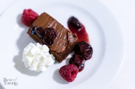 Dark chocolate brownies with sour cherry compote