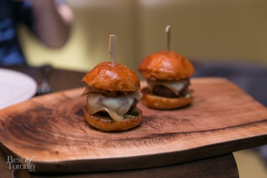 Cumbrae Farms banquet sliders with Oka cheese, maple bacon | Photo: Nick Lee