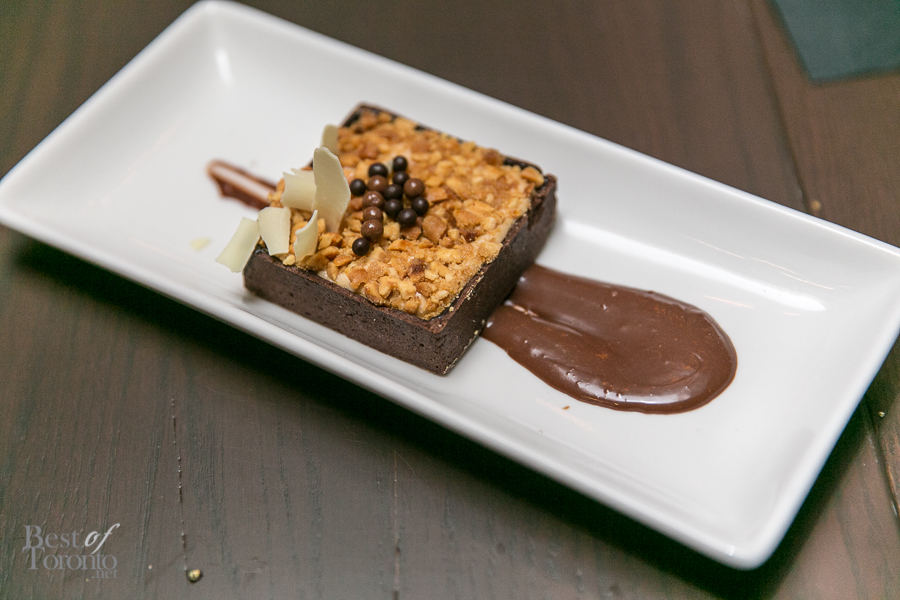 """Chocolate Peanut Butter Tart"" with candied peanut bark and dark chocolate ganache"