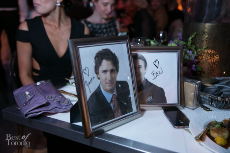 Framed photos of Justin Trudeau and Ben Mulroney