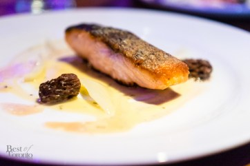 Salmone arrosto con spugnole | Roasted salmon with morels, fennel and white white butter sauce