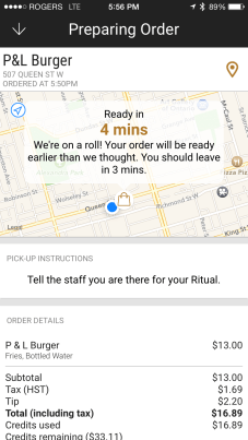 Step 3: Arrive and your order is ready. You can keep checking the status along the way.