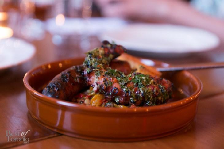 Grilled Octopus and Chorizo with baked semolina and peperonata