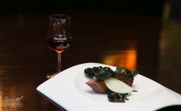 Duck breast with port prunes, apple, sauteed kale, kale chips