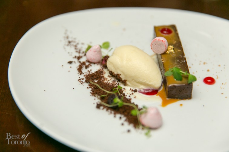 Dessert Course: Tonka bean chocolate bar, sour cherry meringue, dulce de leche, berry gel, oatmeal ice cream