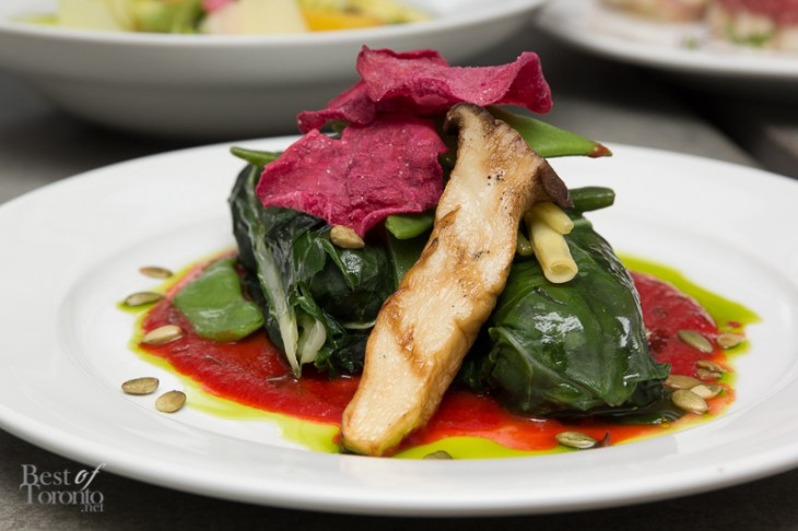 Vegetable stuffed chard, vegetable sauce, chive oil, beet crisps, toasted pumpkin seeds