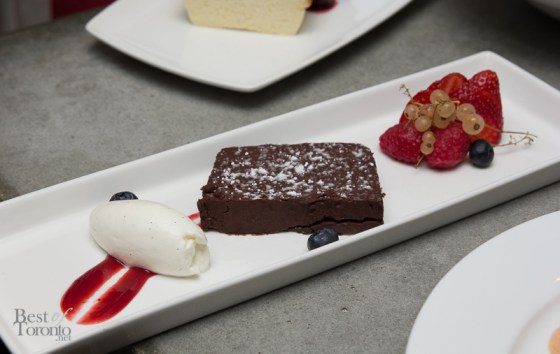 Callebaut chocolate terrine, local berries, whipped cream