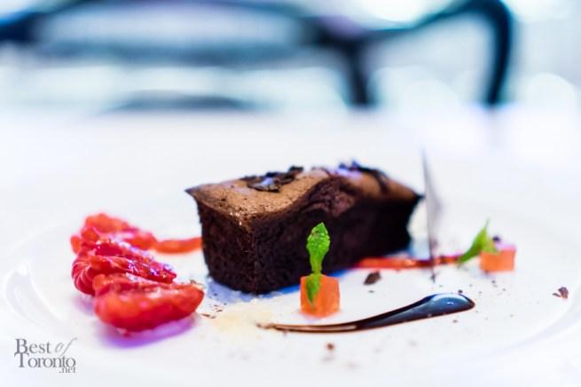 Melted chocolate raspberry cake | sousvide watermelon, pop rocks candy
