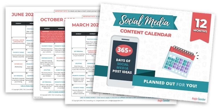 12 month social media calendar